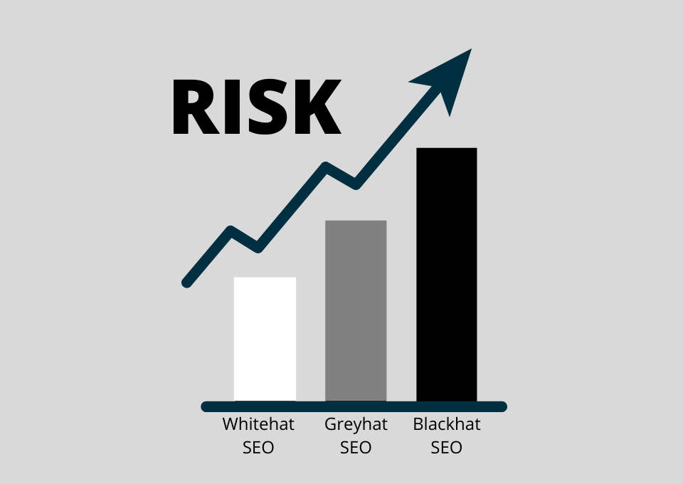 risk of whitehat seo greyhat seo and blackhat seo