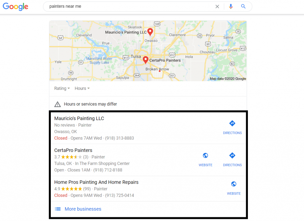 google map pack listings